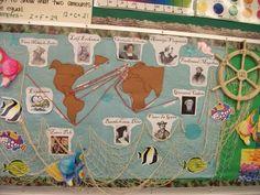 Explorer's Bulletin Board- alter for any content 3rd Grade Social Studies, Social Studies Classroom, Teaching Social Studies, Explorers Unit, Early Explorers, History Bulletin Boards, Classroom Displays, Classroom Setup, School Classroom