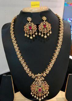 American Diamond Stone Necklace Set. American Diamond Stone Long Necklace Set…