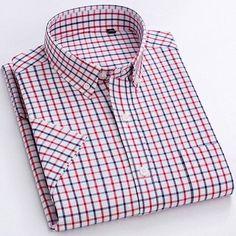 Men's Casual Short-Sleeve Checkered Shirts Standard-fit Summer Thin So – Ifomt Dickies Shorts, Cotton Shorts, Hats For Men, Casual Shirts, Men Casual, Short Sleeves, Mens Fashion, Plaid Dress, Dress Shirts