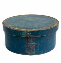 E.B. Frye and Son, Wilton, N.H. Original Blue Paint Round Box »