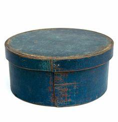 E.B. Frye and Son, Wilton, N.H. Original Blue Paint Round Box »