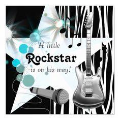 Rockstar baby boy shower invitation
