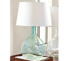 Sea green blue glass table lamps pinterest glass table lamps eva colored glass table lamp potterybarn aloadofball Gallery