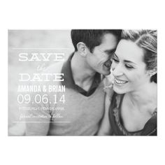Vintage Wedding Save the Date White Text Photo Save the Date Announcement