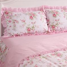 Diy Crafts - Details about Princess Pink Floral Rose Bedding Duvet Comforter Cover Set King Queen Full Twin Detai Shabby Chic Pink, Shabby Chic Pillows, Chic Bedding, Duvet Bedding, Shabby Chic Homes, Shabby Chic Decor, Comforter Cover, Comforter Sets, Bed Cover Design