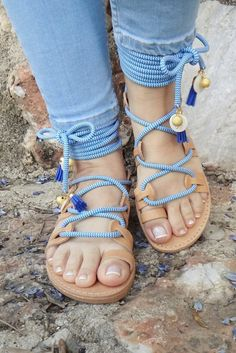ca34c3a4aee Items similar to Ariadne Lace Tie up Stripes Charms Sandals   Navy Blue  Striped Cord   Genuine Greek High Quality Leather   Gladiator Strap Sandals  on Etsy