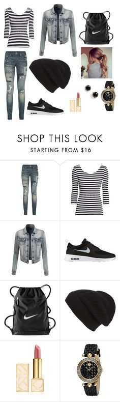 """""""Black & White"""" by jazzygirl-fun ❤ liked on Polyvore featuring Polo Ralph Lauren, LE3NO, NIKE, Phase 3, Tory Burch, Versace and Kate Spade"""