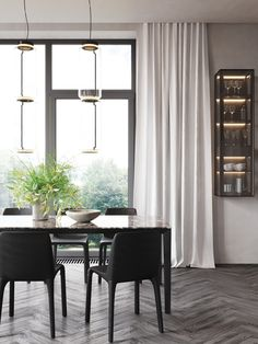 dining room Minimalist Design, Dining Room, Curtains, Interior, House, Inspiration, Furniture, Architects, Home Decor