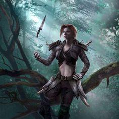 Fantasy Characters, Female Characters, Fictional Characters, Dark Fantasy, Fantasy Art, Science Fiction, Elder Scrolls Races, Elf Ranger, Character Art