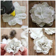 Shabby Soul:Christmas Fabric Flowers Tutorial