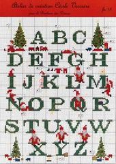 Christmas alphabet for cross stitching and embroidery