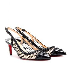 MANOVRA 70 PATENT LEATHER AND LACE KITTEN HEELS
