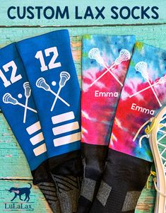 Customize your lacrosse socks with your name, number, monogram, team name, logo and more! A great gift for an individual player or the whole lacrosse team! A fun and unique gift lax girls will love! #lulalax