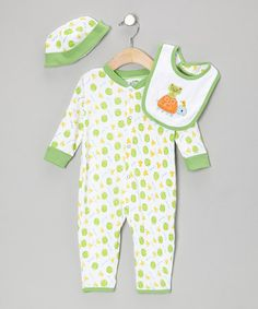 Look what I found on #zulily! Green Frog Playsuit Set - Infant by Sweet & Soft #zulilyfinds