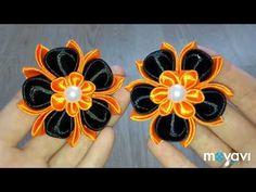 Цветы из атласной ленты Канзаши Резинки для волос DIY Hair Flowers Kanzashi - YouTube