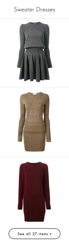 """""""Sweater Dresses"""" by giovanna1995 ❤ liked on Polyvore featuring dress, Sweater, knit, farfetch, dresses, vestidos, alexander mcqueen, robes, sweater dress and round neck dress"""
