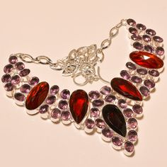 UNIQUE MOZAMBIQUE GARNET WITH PINK AMETHYST - 925 SILVER JEWELRY NECKLACE  #Choker