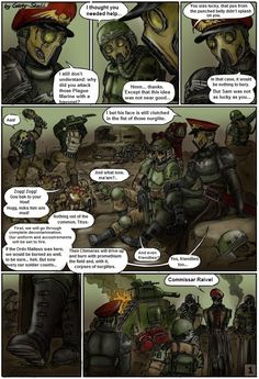 "Warhammer 40000 ""After the battle with Plague Marines"" page 1 (from ""Commissar Raivel"" comics by Gray Skull) (colored by switch900v)"