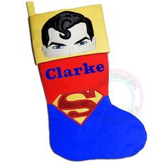 superman, Christmas Stocking, Superhero Character, Justice League, Comic superhero,  Personalised Stocking, Christmas, superhero, Clark Kent - pinned by pin4etsy.com