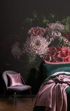These murals have been paired with beautiful furniture and accessories to show you how to create a magnificent & dramatic space with Dark Floral Wallpaper. Floral Bedroom, Bedroom Decor, Design Bedroom, Bedroom Ideas, Gothic Bedroom, Dark Cozy Bedroom, Scale Design, Design Design, Design Ideas