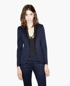 $575.00 Suit jacket with suede and leather collar - The Kooples