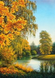 Diamond Painting Autumn Trees Lakeside Kit Offered by Bonanza Marketplace. Nature Paintings, Beautiful Paintings, Beautiful Landscapes, Oil Paintings, Autumn Scenery, Autumn Trees, Autumn Lake, Landscape Art, Landscape Paintings