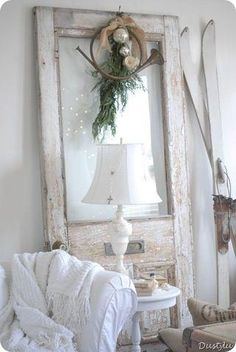 Paint an old pair of wooden skis white for the perfect White Christmas decor.