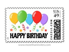 Happy birthday party postage stamps with colorful balloons, confetti stars and streamers.