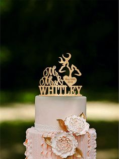 """Deer Wedding Cake Topper Mr & Mrs Deer Cake Topper Wooden Last Name topper Rustic Wedding Cake Topper Fall Wedding Autumn Wedding Wooden cake topper will embellish your wedding cake and will make your special day unforgettable. It will serve as a perfect decoration not depending on the wedding style you choose as well as the ideal recollection of your happiest day. *** Material: All the our toppers are made of high-quality, safe-food 1/8"""" plywood. *** Colors: natural wood, dark wood…"""