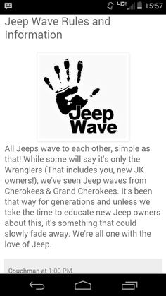 Jeep wave please:) Though I only do it when in the Wrangler, not Grand Cherokee.