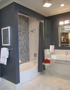 The Tile Shop - ceramic bath with glass backsplash and marble floor blue paint white ...