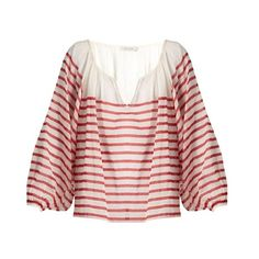 Mes Demoiselles Matthew striped cotton-gauze blouse ($155) ❤ liked on Polyvore featuring tops, blouses, red stripe, long blouse, striped tops, pink halter top, red striped top and striped halter top
