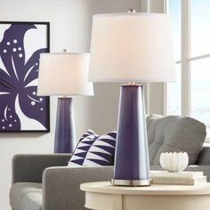 Quixotic Plum Leo Table Lamp Set of 2 - #17R66 | Lamps Plus Living Room Red, Living Room Bedroom, Bedroom Lamps, Wall Lamps, Master Bedroom, Table Lamp Sets, A Table, Pink Table Lamps, Contemporary Table Lamps