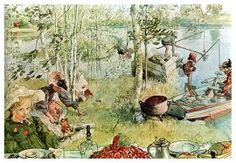 "Watercolor ""The Crayfish Season Opens"" by Carl Larsson – swedish painter and interior designer. Carl Larsson, Denis Zilber, Photos Hd, Swedish Style, Swedish Decor, Arts And Crafts Movement, Large Painting, Museum Of Fine Arts, Gustav Klimt"