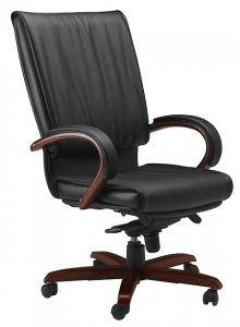 Mayline Mercado Wood Series President Chair Wood  SKU: PRW Soft and supple leather defines these comfortable and luxurious yet economical choices of seating for the office and conference room.  • Genuine leather on all seated surfaces. • 250 lb. load rating for all Mercado Leather and Wood Chairs. • All Mercado Chairs available on the 72-hour Kwik-Ship program. • Some assembly required.