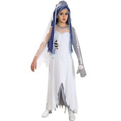 Corpse Bride Child Costume - This animated tale from Tim Burton is based on a Russian folktale, about a bride, a groom, and a Corpse Bride. Costume includes a long white wedding dress with skeleton sleeve and headpiece. Available in child sizes: Small, Medium, and Large. Wig, veil, and bouquet sold separately. This is an officially licensed Tim Burtons Corpse Bride costume. Also available in Adult size. Small.