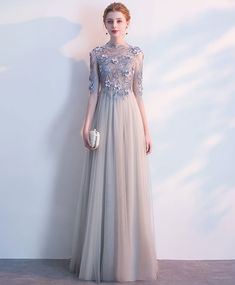 Gray tulle O neck long evening dress, long 3D lace appliques prom dress with sleeves #prom #dress #gowns #promdress #promdresses