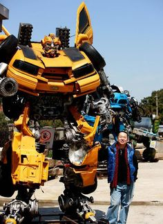 Mr.Iron Robot sculpture park by Chinese artists Zhu Kefeng. Made using scrap metal (mostly cars).