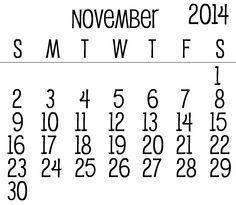 30 Best November 2014 Calendar Images November 2014 Calendar