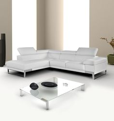 Leather #SectionalSofa in White, Black or Dark Grey by NicolettiCalia #FurnitureinNewJersey