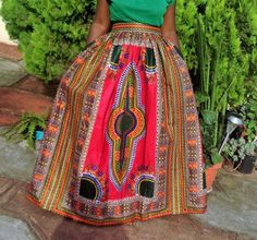 African Clothing Hot Pink Dashiki Maxi by MsAlabaAfricanShop Crochet Slipper Pattern, Dashiki, Summer Skirts, African Dress, Traditional Dresses, African Fashion, Hot Pink, Midi Skirt, Maxis