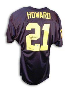 225689c20 Desmond Howard Autographed University Of Michigan Blue Jersey Inscribed