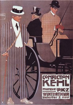 Ludwig Hohlwein. German. Plakatstil. Poster for Men's Ready-made clothing. 1908. Powerful shapes.