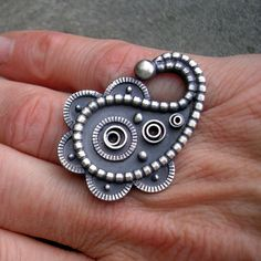 Ring | L Sue Szabo.  Sterling and oxidized silver  Hmmm smaller with a few changes ...but still ...has the bones...LOL   djw