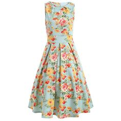 Sleeveless Floral Print A Line Dress
