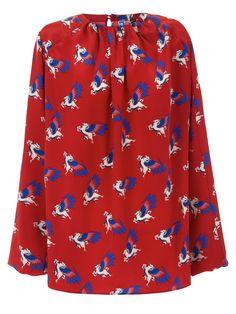 Blusa seda manga larga color rojo con estampado de pegasos
