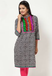 This kurta, featuring a striking white coloured print, is hard to miss out on. The multicoloured embroidery around the neck enhances its attraction. This 100% cotton kurta is an ideal pick for a comfortable feel and it can be matched with leggings in different colours.