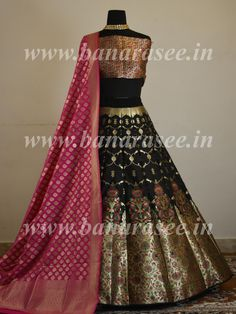 Banarasee Handwoven Art Silk Unstitched Lehenga & Blouse Fabric With Meena Work-Black Indian Bridal Outfits, Pakistani Bridal Dresses, Indian Designer Outfits, Indian Dresses, Designer Dresses, Bridal Lehenga, Designer Lehnga Choli, Designer Sarees Wedding, Lehnga Dress