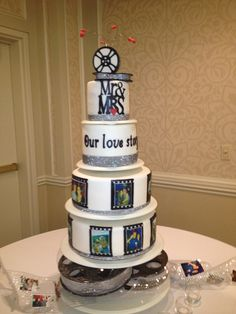 Movie themed reception wedding cake at a Madison, Wisconsin wedding!