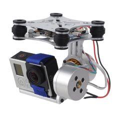 2 Axis V2.3B5 CNC Brushless Motor FPV Gimbal Aluminum Camera Mount for DJI Phantom V1&V2 / Walkera XA350(Silver)